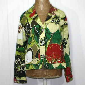 Chico's Size 2 Spring Floral Lightweight Jacket